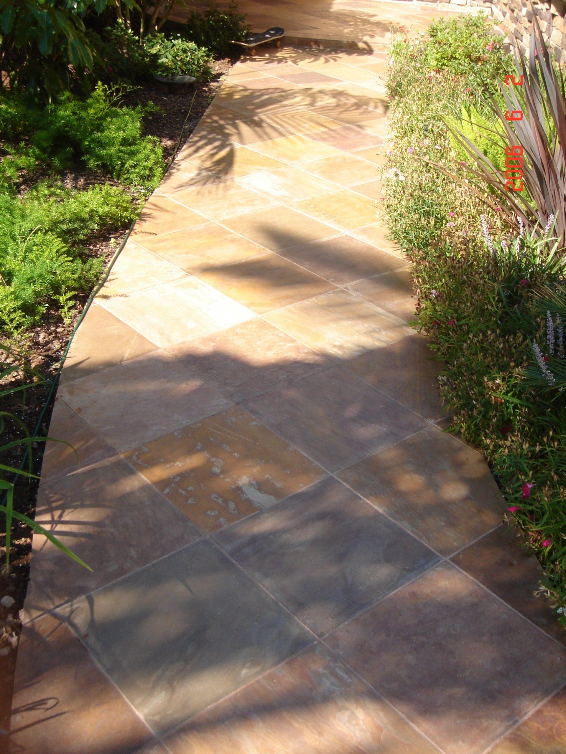 Stone tile walkway