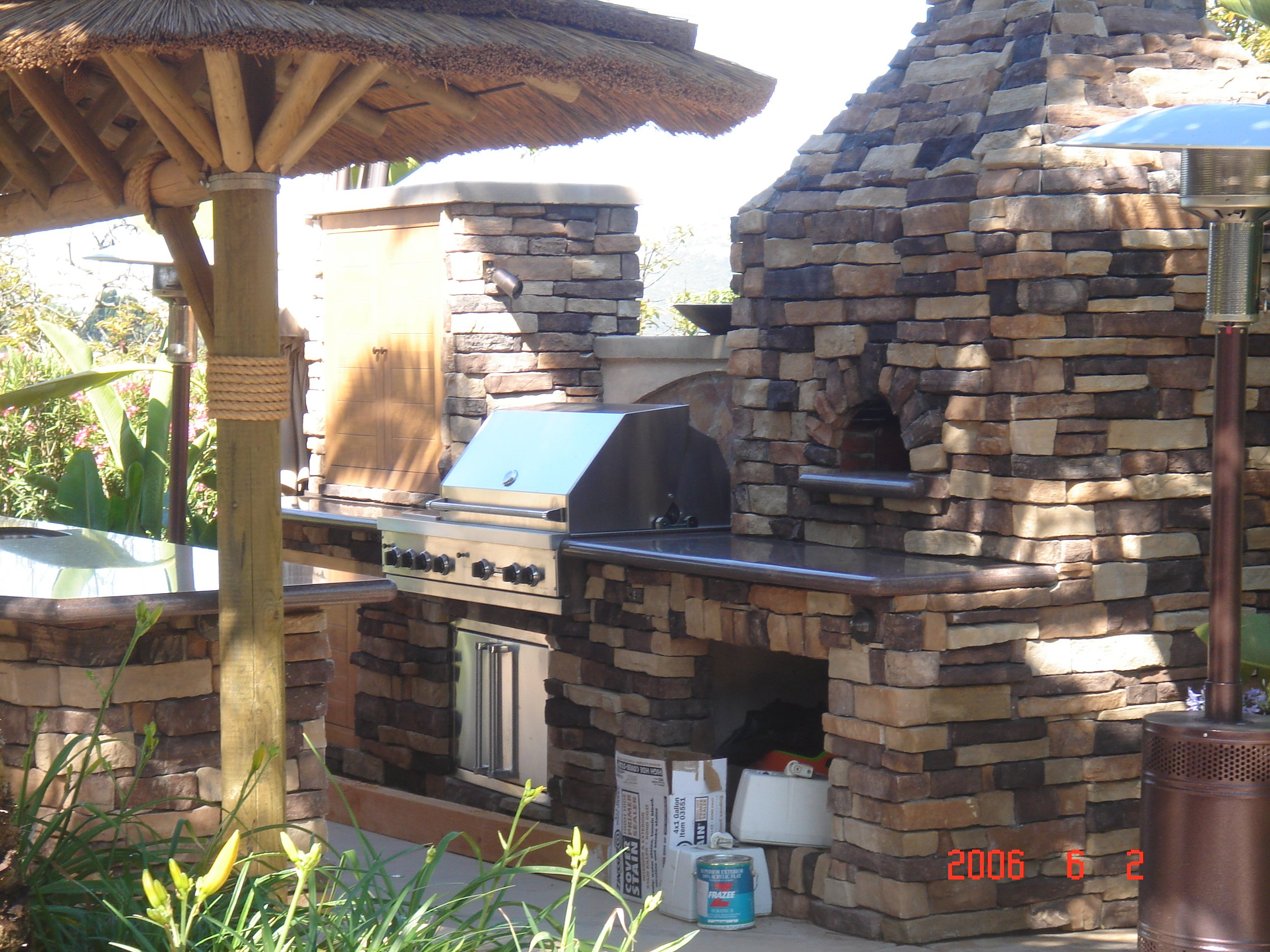 Stonework barbecue wall