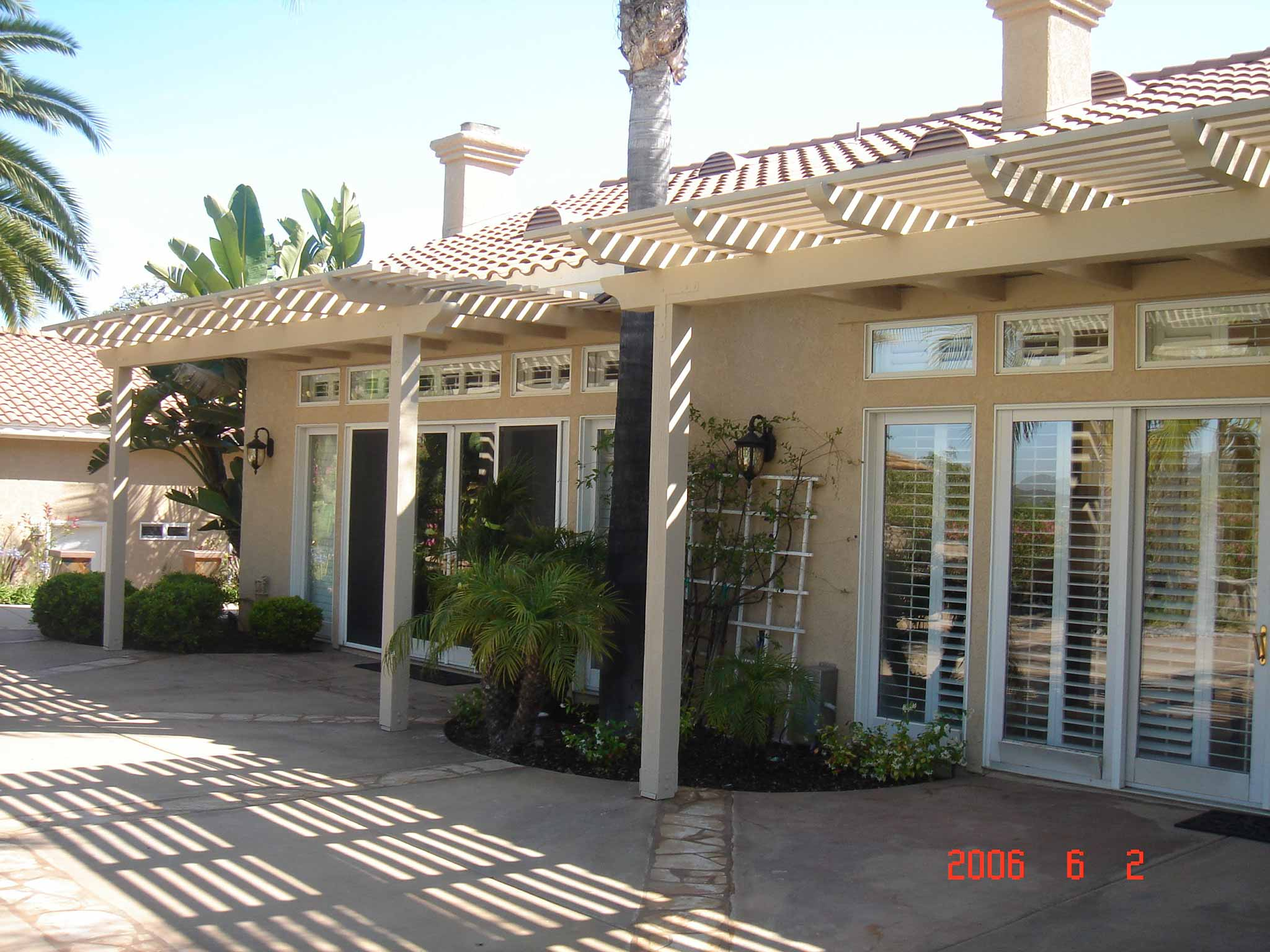View of California home exterior with sun shining