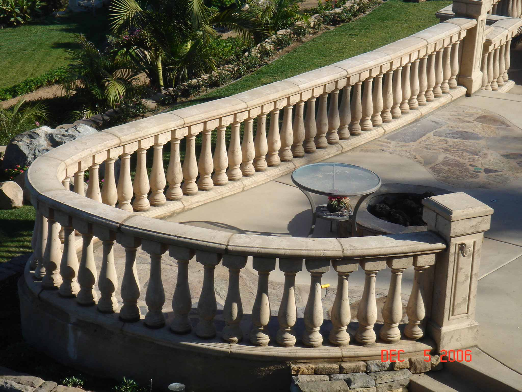 Overhead view of stone veranda