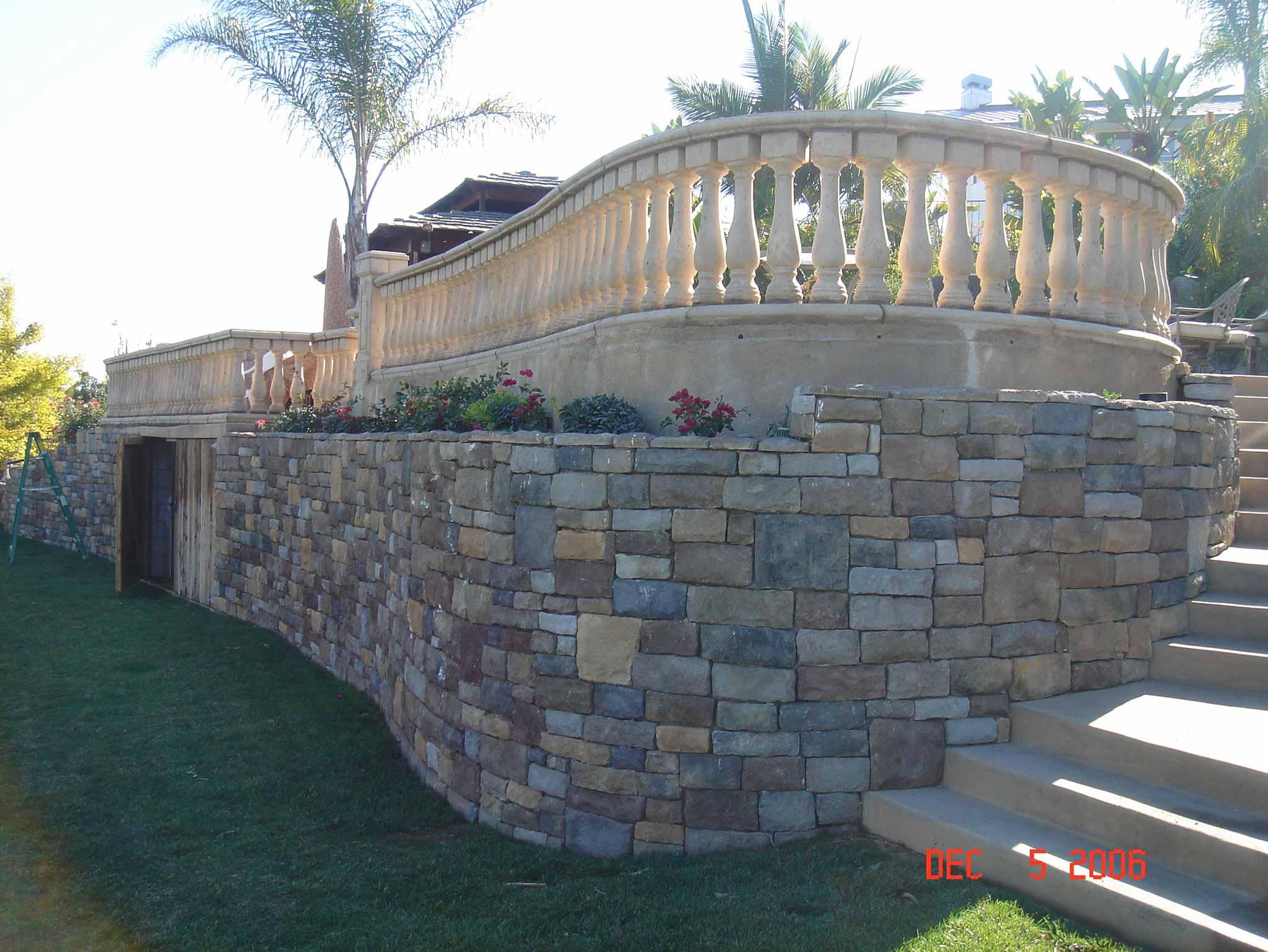 Sideview of custom stonework veranda