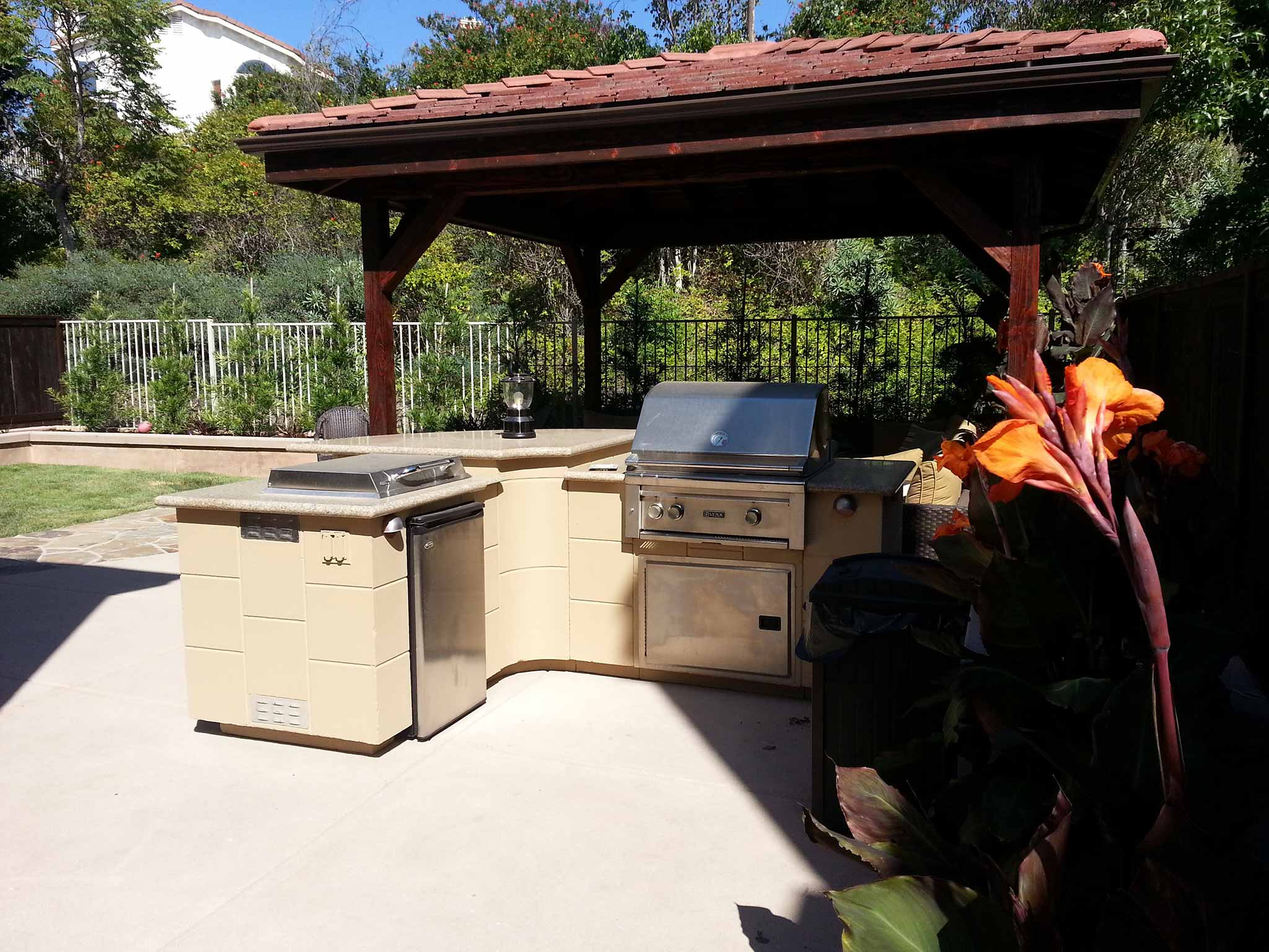 Full view of concrete barbecue area