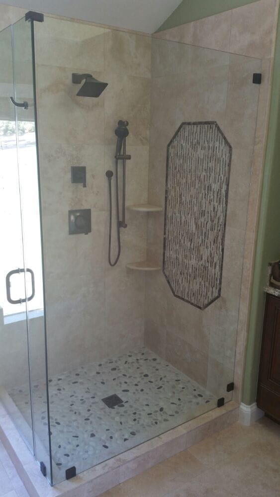 Newly tiled shower stall