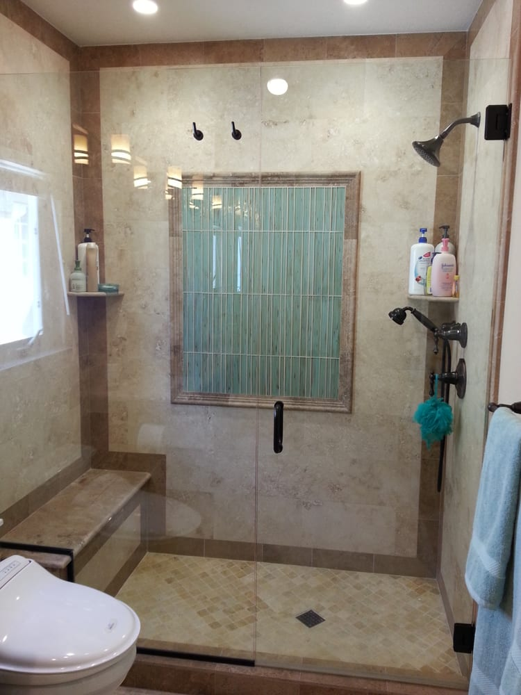 shower with windows and seating