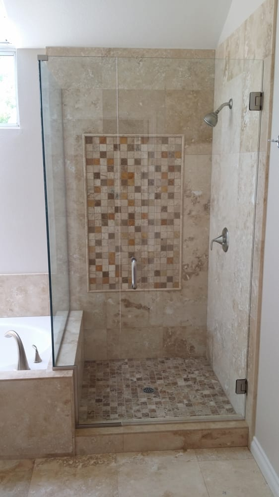 Updated tile in attached shower stall