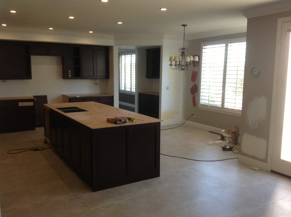 side view of kitchen island