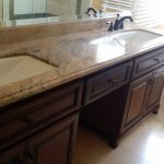 dark wood double vanity
