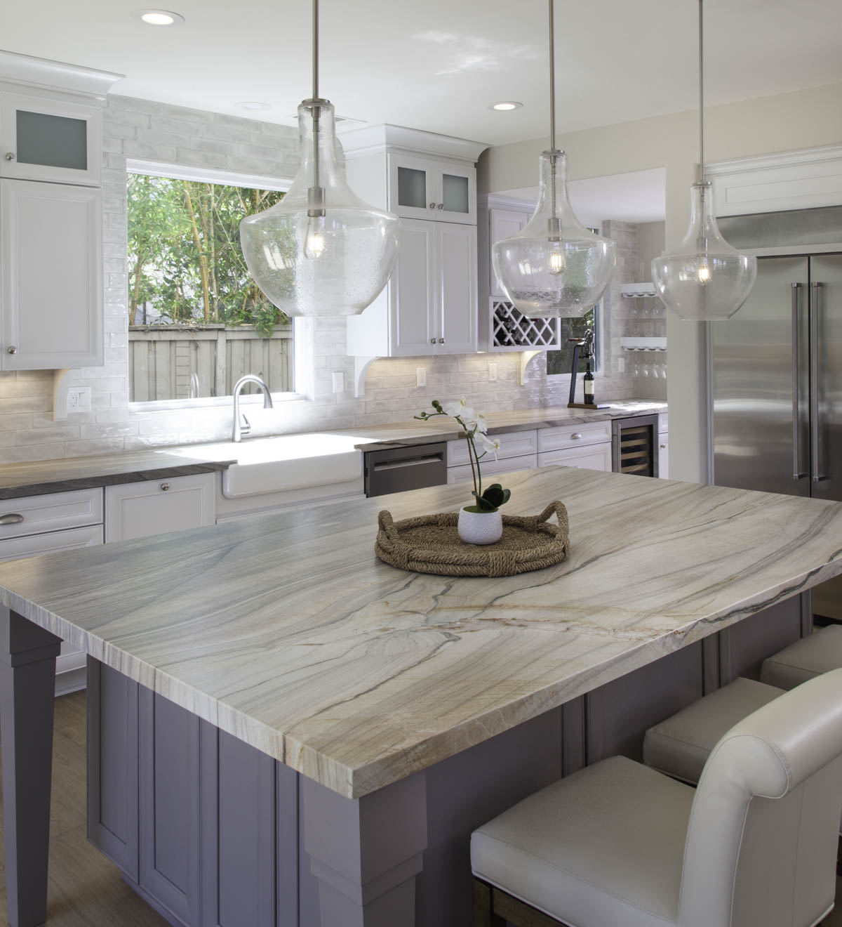 Two tone island and cabinets