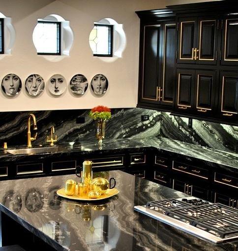 Black Kitchen Cabinets Gold Trim Fornasetti Plates Quatrefoil Windows Teknik Inc